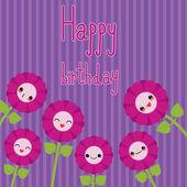 Cute greeting card with cartoon flowers. Kawaii japanese style. — Stock Vector