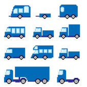 Pixel  transportation icon set. Old school computer graphic style. — Stock Vector