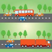 Pixel transportation infographic set. Old school computer graphic style. — Stock Vector