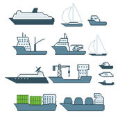 Pixel water transport icon set. Old school computer graphic style. — Stock Vector