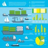 Pixel water transport infographics. Old school computer graphic style. — Stock Vector