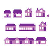 Pixel buildings icon set. Old school computer graphic style. — Stock Vector