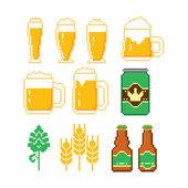 Beer icons set. Pixel art. Old school computer graphic style. — Stock Vector