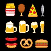 Beer and fast food icons set. Pixel art. Old school computer graphic style. — Stock Vector