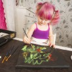 Cute girl painting — Stock Photo #60085937