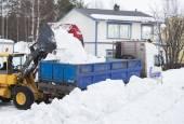 Wheel loader unloading snow — Stock Photo