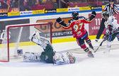 Lulea, Sweden - March 18, 2015. Per Ledin (97 Lulea Hockey) scores! Swedish Hockey League-game, between Lulea Hockey and Frolunda Indians. — Stock Photo