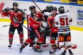 Lulea, Sweden - March 18, 2015. Kristian Nakyva  (51 Lulea Hockey) fighting with Joel Lundqvist (20 Frolunda Indians) during the Swedish Hockey League-game, between Lulea Hockey and Frolunda Indians. — Stock Photo