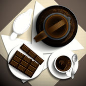Morning invigorating coffee, milk and bar of chocolate on a white plate. Vector illustration. — Stock Vector