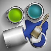 Cans of paint and brushes to paint. Vector illustration. — Stock Vector