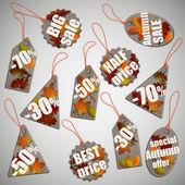 Set of autumn fall sale cardboard tags, vector illustration. — Stock Vector