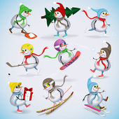 Set of nine funny snowmen. Snowmen skiing, boards, sleigh, ice skating, playing snowballs, preparing for the New Year holidays. Winter fun. Vector illustration. — Stock Vector