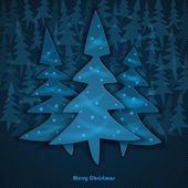 Winter vector background silhouette of the firs on striped background and space for text. Vector illustration. — Stock Vector