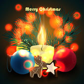 Christmas candle with decorations and cookies. Vector illustration. — Stock Vector