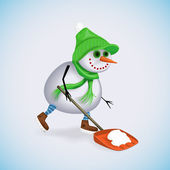 Happy snowman removes snow shovel. Winter fun. Vector illustration. — Stockvector