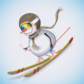 Snowman on skis racing down the hill. Winter fun. Vector illustration. — Stockvector