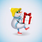 Snowman carries a gift for Christmas. Winter fun. Vector illustration. — Stockvector
