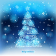 Vector Illustration of a winter background with Christmas tree made of snowflakes.  Christmas and New Year greeting card. — Stock Vector #57836937
