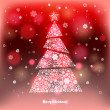 Vector Illustration of a winter background with Christmas tree made of snowflakes.  Christmas and New Year greeting card. — Stock Vector #58082155