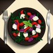 Greek salad with tomatoes, feta cheese, olives, red onion, peppers, basil, and arugula on brown plate. Vector illustration. — Stock Vector #61853265