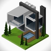 Modern house of glass and concrete in a loft style  with a lawn and a swimming pool. Vector isometric illustration. — Vector de stock