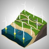 Vector isometric illustration of a wind power plants. Extraction of energy from renewable sources. Generation of electricity using wind energy. — Stockvektor