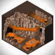 Vector isometric illustration of a underground mining quarry, articulated dump truck, mining train and a articulated backhoe excavator. Equipment for high-mining industry. — Stock Vector #70492701