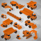 Vector isometric illustration of a set of heavy-duty trucks, mining excavators, articulated backhoe excavator, dumpers, grader, mining train. Equipment for high-mining industry. — Stock Vector
