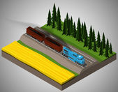 Vector isometric illustration of an element of railroad tracks with train consisting of locomotive and rail car for transportation of bulk cargoes. Rail transportation. — Stock Vector