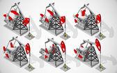 矢量等距插画的抽油机为机械升降机液出井。石油和天然气工业设备. — 图库矢量图片