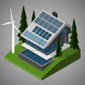 Moderna casa autonoma non volatile con un prato e una piscina all'aperto. Illustrazione isometrica di vettore. — Vettoriale Stock