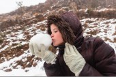 Girl Snowball Playtime — Stock Photo