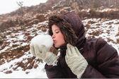 Girl Snowball Playtime — Stock Photo