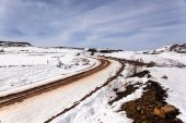 Dirt Road Tracks Snow Mountains — Stock Photo