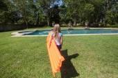 Girl LiLo Pool — Stock Photo