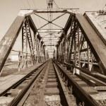 Train Bridge Structure Sepia — Stock Photo #65242731