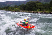 Kayaks River Action — Stock Photo