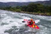 Kayaks River Action — Stock Photo