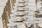 Party Decor Tables Cutlery — Stock Photo