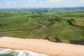 Aerial Flying River Beach Coastline — Stock Photo