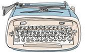 Blue Typewriter cute vintage painting — 图库照片