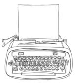 Blue Typewriter cute with paper vintage line art and painting — 图库照片