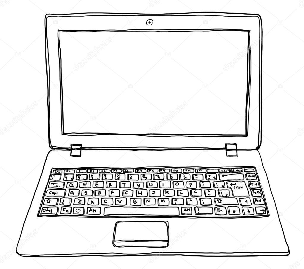 Line Art Laptop : Laptop notebook computer cute line art — stock photo