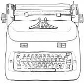 Electric vintage Typewriter line art — Stock Photo
