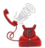 Vintage red telephone art painting — Foto Stock