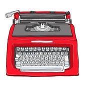 Red vintage typewriter cute art painting  illustration — Stock Photo