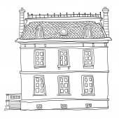 Vintage house cute line art  — Stock Photo