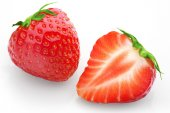 Cut strawberries with isolated background — Foto de Stock