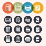 Collection Circle Series icons ,Calculator, notepad, print, book — Stock Vector #52275613