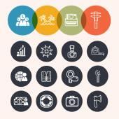 Collectie cirkel serie pictogrammen, business, toerisme, camera, construc — Stockvector